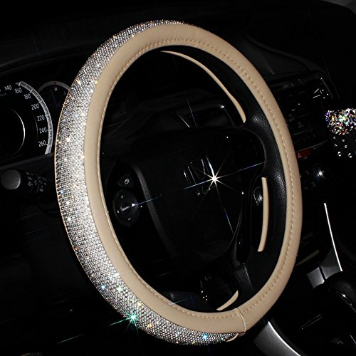 Dotesy Crystal Diamond Steering Wheel Cover Protector - Bling Rhinestone Leather Handcraft Car Steering Wheel Cover for Women, Lady - Universal All-Weather (Beige)