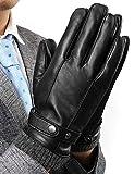 INFLATION Herren Lederhandschuhe aus Lammfell Vollhand Touchscreen Warm gefütterte Handschuhe Geschenk Packung Schwarz L