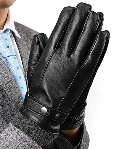 INFLATION Herren Lederhandschuhe aus Lammfell Vollhand Touchscreen Warm gefütterte Handschuhe Geschenk Packung Schwarz S
