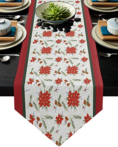 Christmas Red Flowers Poinsettia Table Runner Dresser Scarves, Pine Branches and Pinecones Kitchen Linen Burlap Table Runners for Home Dining, Holiday Parties, Wedding, Banquet Decor 16x72inch