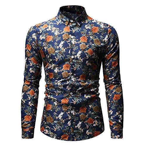 Camisas para Hombre Primavera y otoño Tendencia de Moda Impresión Solapa Camisa de Manga Larga Camisas de Manga Larga Informales Europeas y Americanas XXL