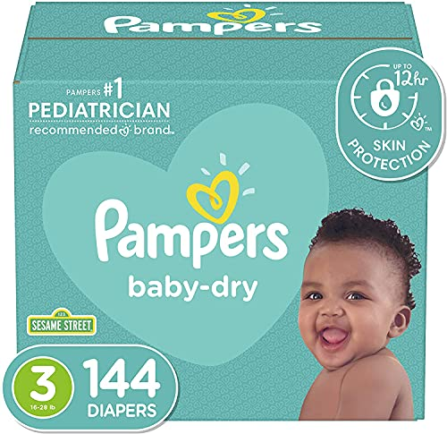 Diapers Size 3, 144 Count - Pampers Baby Dry Disposable Baby Diapers,...