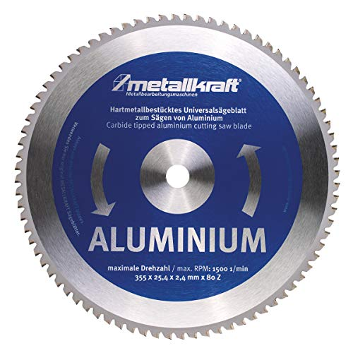 Metallkraft Sägeblatt für Aluminium (ø 355 mm, Bohrung 25,4 mm, Schnittbreite 2,4 mm, 80 Z, für Metall-Trockenschneider MTS 356) 3853502