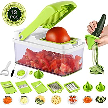 Vegetable Onion Chopper Mandoline Slicer Dicer Cutter Peeler 13 In 1 Pro Manual Veggie Fruits Cheese Julienne Grater Squeezer Set 8 Blades With Cleaning Tool Hand Protector Container For Kitchen