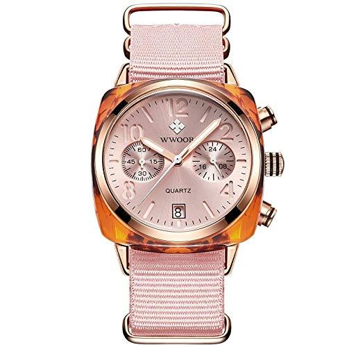 Reloj de Cuarzo analógico de Acero Inoxidable japonés para Hombre con Correa de Acero Inoxidable -D