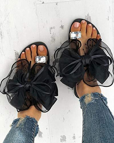 Wo.ens - Zapatillas de lujo para mujer con diamantes de imitación más grandes, con punta de anillo, diseño de lunares, pajarita, zapatos de interior para mujer (color: negro, talla de zapato: 10)