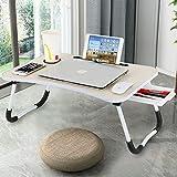 Astory Scrivania per laptop con cassetto, portatile, supporto per lettura, con gambe pieghevoli e slot per coppa per divano, pavimento, bambini, colore: beige