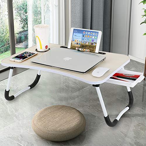 CHARMDI Laptop-Schreibtisch, tragbarer Laptop-Betablett, Schoßpult, Couch-Tisch, Bett-Schreibtisch, Laptop-Schreibtisch mit Seiten-Schublade für Bett/Sofa, Gelb