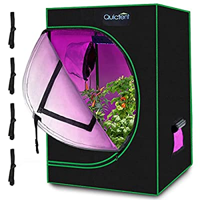 """Quictent 24""""x24""""x36"""" Mylar Hydroponic Grow Tent with Observation Window and Removable Floor Tray for Plant Growing (2'x2')"""