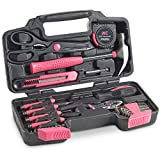 YTFGGY Pink 39 Piece General Tool Set - Home Hand Tool Kit with...