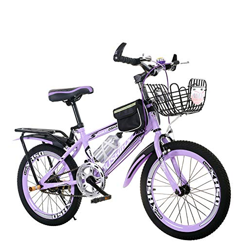 ZZD Single Speed Boys and Girls Kids Bikes, 18/20/22 Inch Kids Mountain Bikes with Water Bottle, Front Basket and Rear Seat Frame,Purple,20in