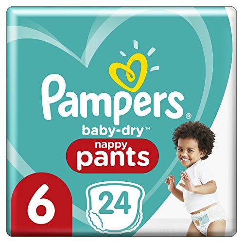 Pampers Baby-Dry Pants 6, 24 Höschenwindeln, Einfaches An- und Ausziehen, Zuverlässige Pampers Trockenheit, 15kg+