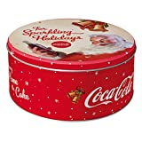 Nostalgic-Art 30607 Coca-Cola - Coca-Cola - For Sparkling Holidays   Retro Vorratsdose Rund L   Keks-Dose   Plätzchen-Box   Metall