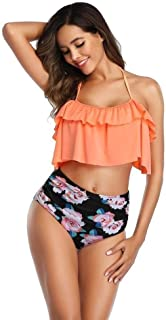 Swimming set Women's Swimwear Sexy Print Bikini High Waist Underwear Swimwear Suit Beach New Swimwear Women YLYCUICAN (Color : Orange, Size : XL)