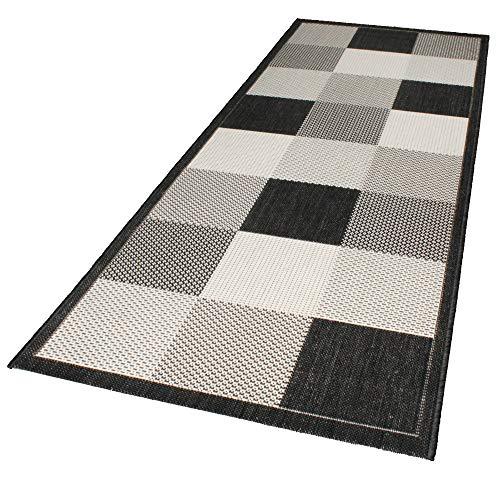 Domdeco In- und Outdoor-Teppich Checkered Black and White 80x200cm Kunststoff Läufer