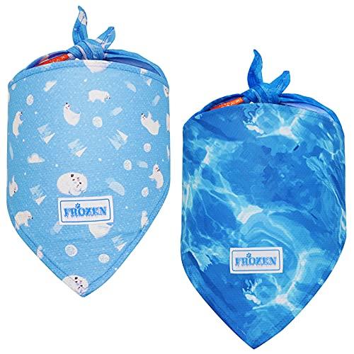 kyeese Pack de 2 bandanas de refrigeración instantánea para perro, transpirable, tamaño triángulo, collar de hielo ajustable para verano, se adapta a cuello de hasta 50,8 cm