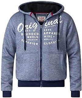 D555 Mens Sweatshirt Duke Big King Size Hoodie Top Sherpa Fleece Lined Heavy New