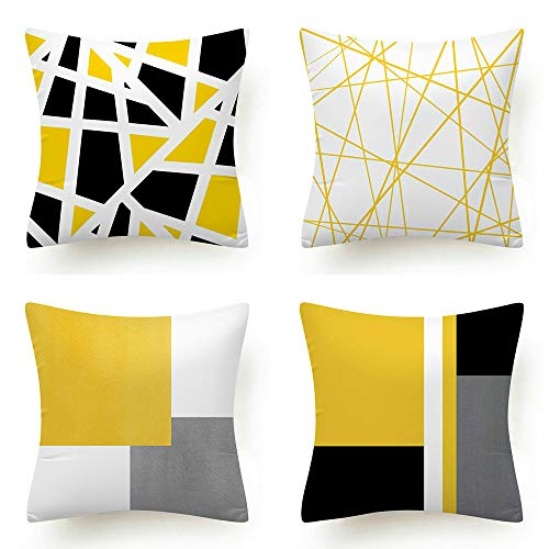 4 Pack Yellow Cushion Cover Geometric Patterns Pillowcase Decorative Square Throw Pillow Covers for Bedroom Sofa Living room 45x45cm/18x18 Inch
