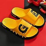 YYFF Zapatos de Playa y Piscina para,Sandalias de Pareja de Suela Gruesa,Pantuflas-Amarillo_38-39,Sandalias con Plataforma Plana Hombre