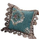 DAOMO クッションカバー ゴージャス レース付き 装飾枕カバー ソファ背当て ベッド 車 ルーム 椅子用 花柄 洗える(ライトブルー、45×45cm)