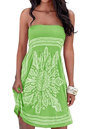 SEMATOMALA Women's Summer Dress Strapless Floral Print Bohemian Casual Beach Dress Cover Ups for Swimwear Women(GR,XL)