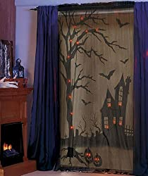 Lighted Halloween Curtain pumpkins bats tombstones crosses Halloween decor