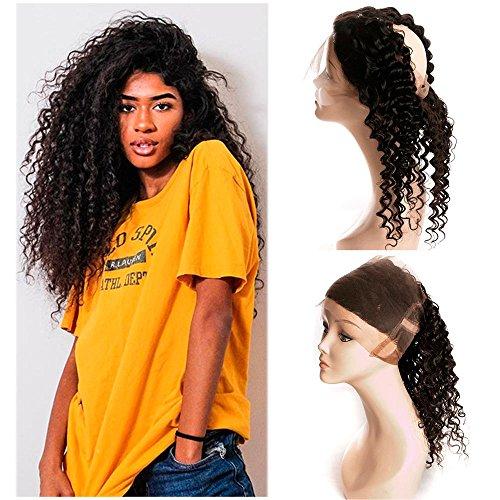 Dai Weier Lace Frontal 360 Boucle Cheveux Bresilien Swiss Lace Soft Hair Deep Wave 360 Lace Frontal avec Baby Hair Court Natural Black 10 pouces