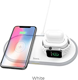hoco 3-in-1 Portable Wireless Charging Station 5W/7.5W/10W Qi Fast Charger Stand Pad for Multiple Devices, Compatible with Apple Watch Series 1 2 3 4 iPhone 11 X Xr Xs Pro Max 8
