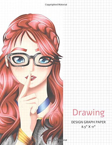 Drawing design graph paper - 8.5x11 Isometric Graph Paper Pad 100 pages for art and drawing projects - Anime red-hair girl