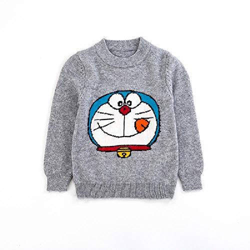 nobrand Kinder Pullover Herbst Winter Neu Jungen Pullover Kaschmir Pullover Langarm Kinder Pullover Strickwaren Gr. 100 cm, Grau Jingle Cat
