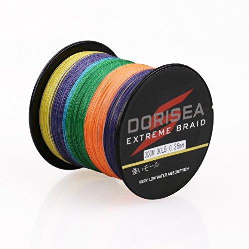 Dorisea Extreme Braid 100% Pe Braided Fishing Line 109Yards-2187Yards 6-300Lb Test Multi-Color (100m/109Yards 20lb/0.20mm)