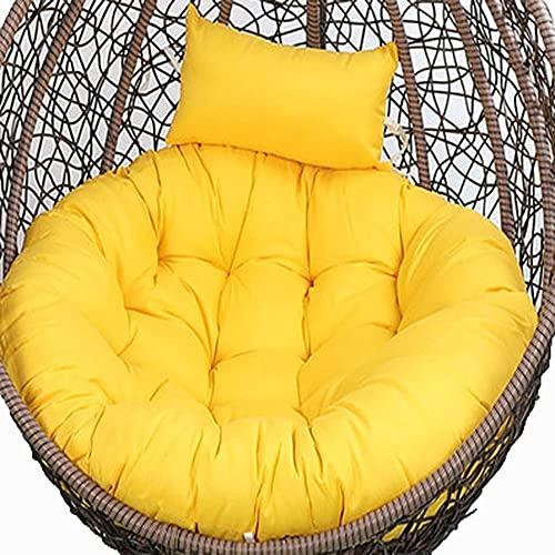 HOOJUEAN Jardín Terraza Sillón Columpio De Ratán Mimbre Huevo Silla Colgante Hamaca Silla Colgante Cojín Cojín De Gran Tamaño Interior Exterior 105Cm (Silla No Incluida) Yellow