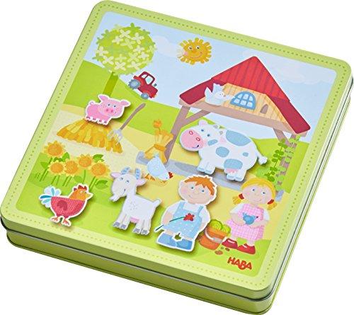 Haba 301951 - Magnetspiel-Box Peters und Paulines Bauernhof, abwechslungsreiches Magnetpuzzle rund um das Leben auf dem Bauernhof, hübsches Kleinkindspielzeug ab 3 Jahren