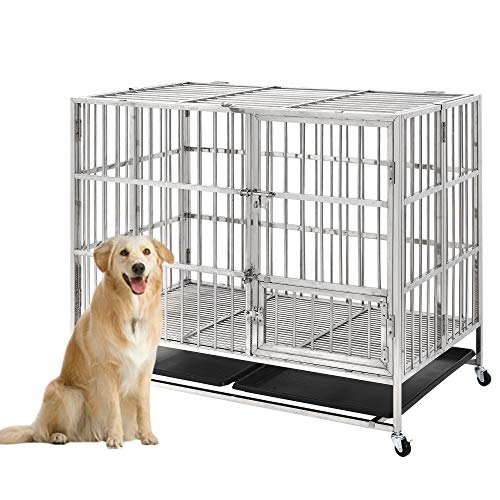 pet crate with wheels Stainless Steel Pet Crate Dog Crate Cage Large Strong Metal Cage for Large Dogs Cats with Prevent Escape Lock and Wheels, Heavy Duty Folding Metal Dogs Cats Pets Crate Kennel with Tray, 43 Inch