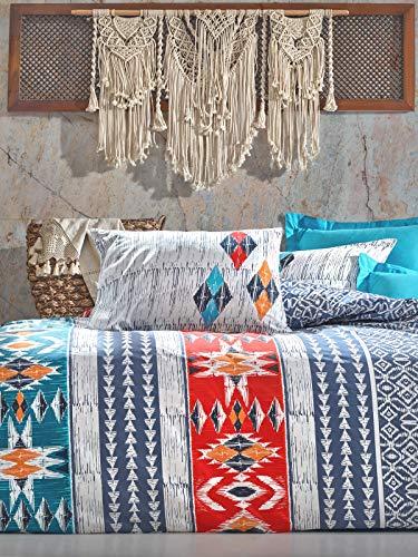 Cotton Box Colección de Ropa de Cama: 1 Funda de Almohada 80X80 Cm, y 135X200 Cm Funda Edredón, Étnico Ranforce - Diseñado y Fabricado en Turquía