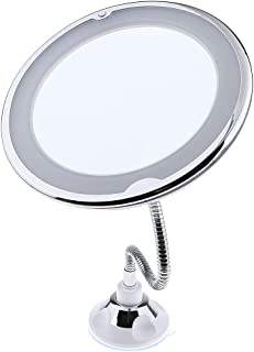 Flameer Wall Mount LED Makeup Mirror, 10x Magnifying Lighted Vanity Extendable Adjustable Gooseneck Bathroom Mirror with S...