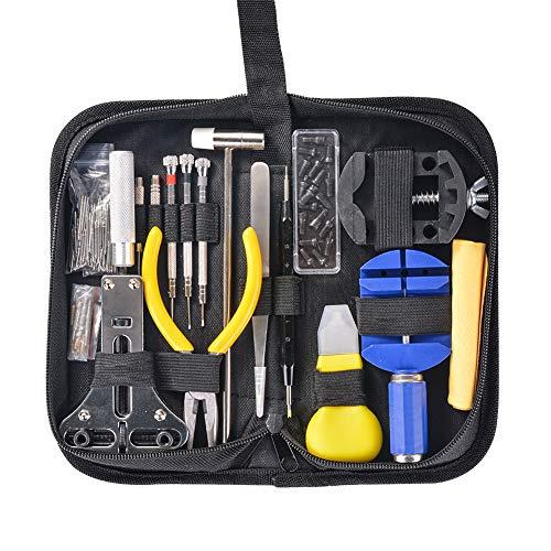 Hivexagon 151-teiliges Uhrenwerkzeug Set, Uhrreparaturwerkzeug Kit zum Wechseln des Armbandes und Öffnen des Uhrengehäuses, professionelles Uhr Reparatur Kit mit Tragetasche