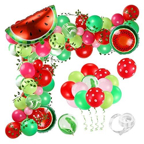 aolongwl Globo de Papel de Aluminio 107pcs Sandía Partido Globos Guirnalda Arco Set Sandmelon Foil Balloons Vine para Cumpleaños Decoración de la Fiesta de Verano (Color : Z28139)