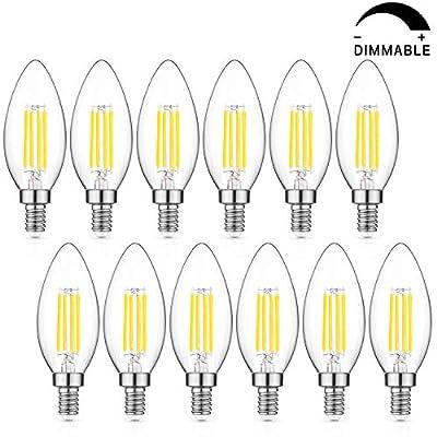 Dimmable LED Candelabra Bulb 60W Equivalent, 5000K Daylight White, 2700K Warm White, 6W Chandelier LED Filament Light Bulbs 600Lumens, E12 Base, B11 Decorative Candle Bulb