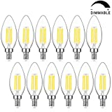 Dimmable LED Candelabra Bulb 60W Equivalent, 5000K Daylight White, 6W Chandelier LED Filament Light Bulbs 600Lumens, E12...