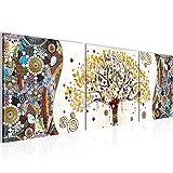 Cuadro en LienzoGustav Klimt Árbol de la vida 120 x 40 cm - XXL Impresión Material Tejido no Tejido Artística Imagen Gráfica Decoracion de Pared -3 piezas - Listo para colgar -004633a