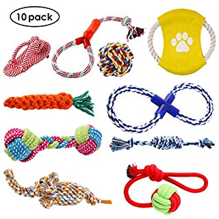 Voll von Farbe und Form: diverse Farbe und Form zieht Haustiere mehr.Das Haustier Seil Spielzeug-Set beinhaltet 10Arten von Spielzeug, wie Elefanten, Karotte, dreifarbiges sourcingmap Hantel, Flip Flop, Gürtel, Seil, Baumwolle Seil, Baumwolle Seil K...