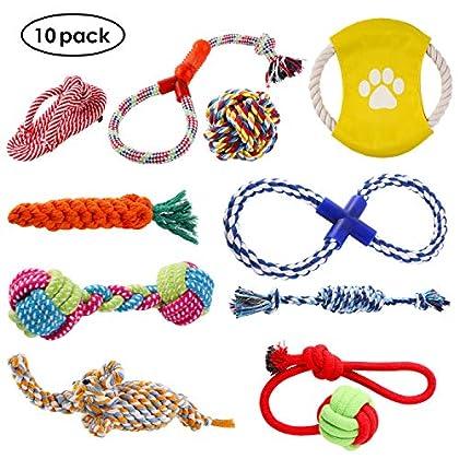 Voller Farbe und Form: Verschiedene Farben und Formen ziehen die Haustiere mehr an. Das Seilspielzeug-Set enthält 10 Arten von Spielzeugen, wie Elefant, Karotte, dreifarbige Kurzhantel, Flip-Flop, 8-förmiges Seil, Baumwollseil-Knoten, Haustier-Frisbe...