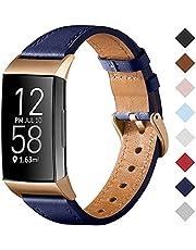 CeMiKa Bandje Compatibel met Fitbit Charge 4 Bandje/Fitbit Charge 3 Bandje, Lederen Bandje Vervangende Polsband Voor Charge 3/Charge 4-Tracker, Dames Heren