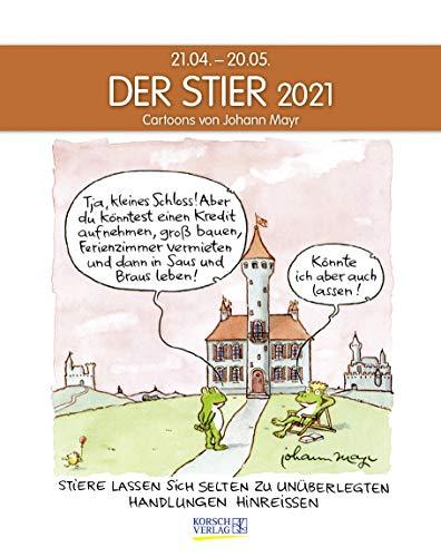 Stier 2021: Sternzeichenkalender-Cartoonkalender als Wandkalender im Format 19 x 24 cm.