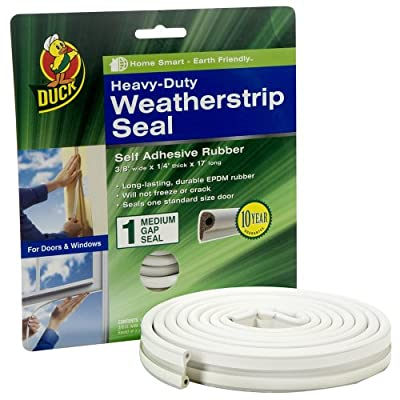 Duck Brand Heavy-Duty Self Adhesive Weatherstrip Seal for Medium Gap, White, 3/8-Inch x 1/4-Inch x 17-Feet, 1 Seal, 282435
