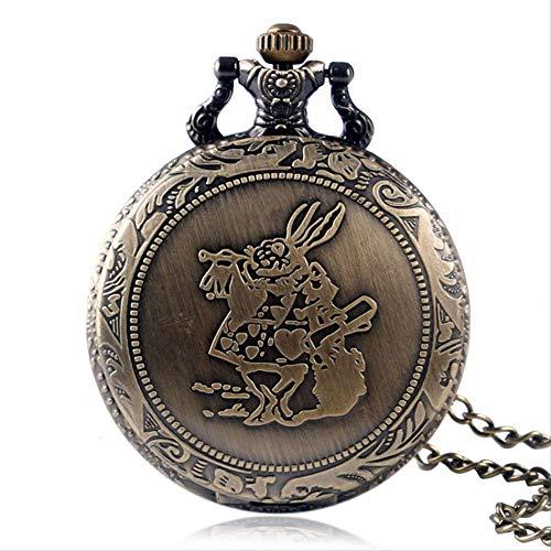 ZHAOJ Reloj de Bolsillo Steampunk Reloj Colgante Retro Bronce Enfermera Reloj Lindo Conejo Dial Regalo Reloj Hombre