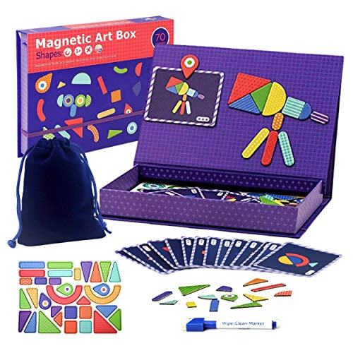 eduBoks 3 in 1 Magnetic Shapes Includes 70PCS Geometric Magnets for Kids Ages 3-5 with Magnetic Board, Tangram Magnets for Toddlers Children manipulatives Imagination Patterns