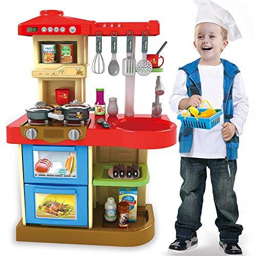 BAKAJI Cucina Giocattolo per Bambini con Fornello Funzionante Luci e Suoni Forno e Lavastoviglie Apribili Lavello e 30 Accessori My Little Chef Gioco Inclusi Dimensione 52 x 26 x 72 cm