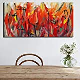 ganlanshu Quadro Senza Cornice Pittura Floreale astratta di Grande Formato su Tela Digitale Fiore Rosso arredamento Moderno Foto Moderna 40X80cm